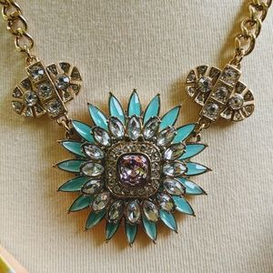 "Statement Necklace 16"" Aqua & Pink"